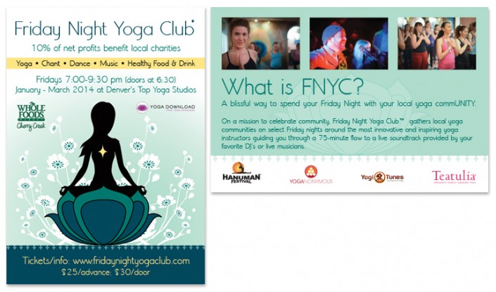 Friday Night Yoga Club Postcard Design