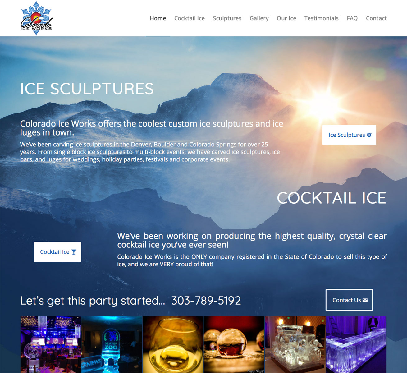 Colorado Ice Works website design