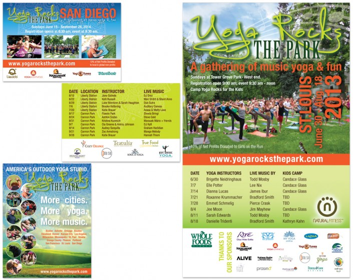 Yoga Rocks the Park postcard and poster design