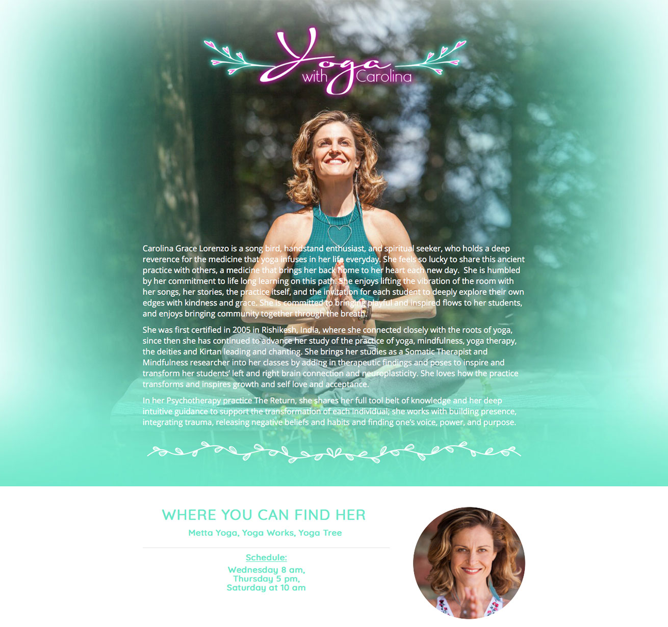 Yoga with Carolina website design